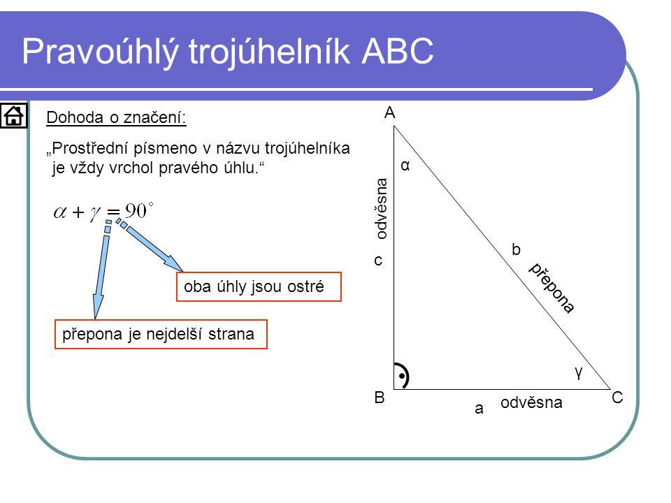 Pravoúhlý trojúhelník ABC