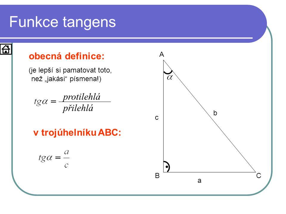 Funkce tangens obecná definice: protilehlá přilehlá