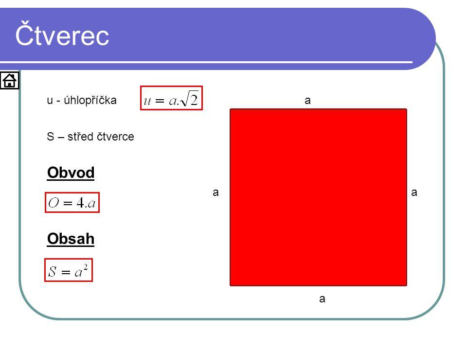 Čtverec u - úhlopříčka a S – střed čtverce Obvod S a a u u Obsah a