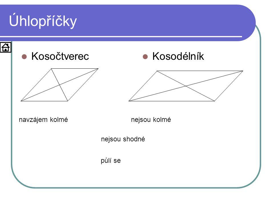 Úhlopříčky Kosočtverec Kosodélník navzájem kolmé nejsou kolmé