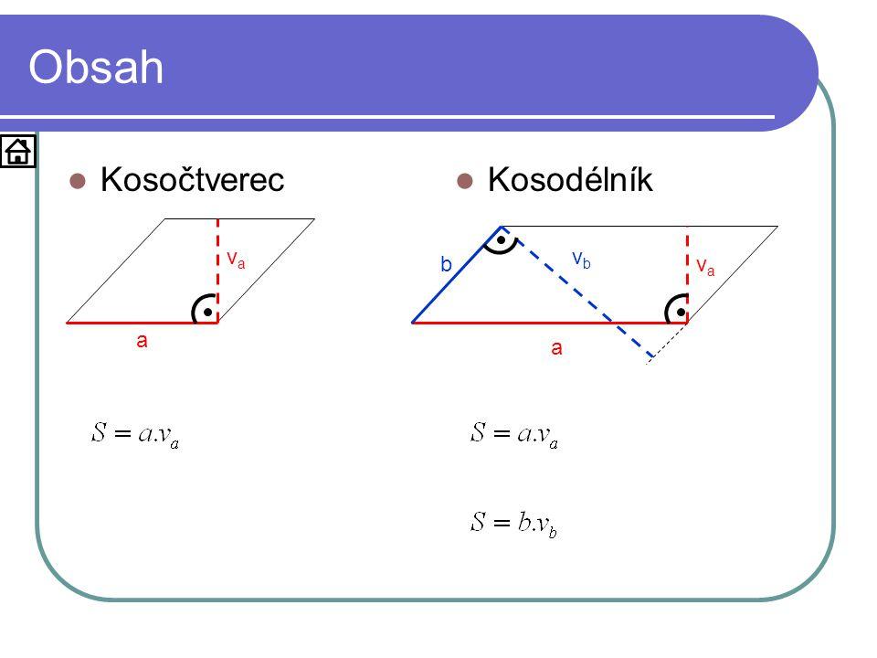 Obsah Kosočtverec Kosodélník va vb b va a a