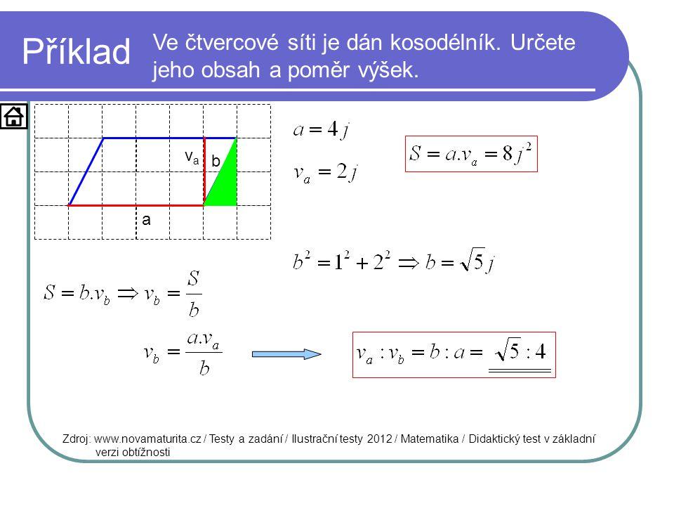 Příklad Ve čtvercové síti je dán kosodélník. Určete jeho obsah a poměr výšek. va. b. a.