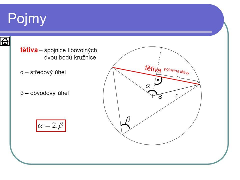 Pojmy tětiva – spojnice libovolných dvou bodů kružnice tětiva r
