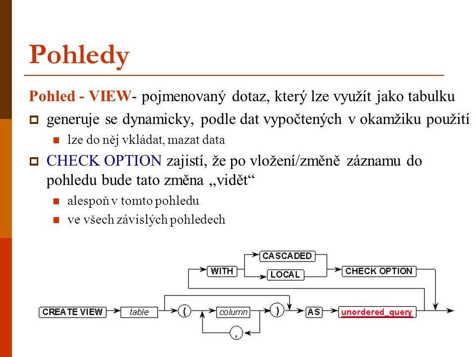 Pohledy Pohled - VIEW- pojmenovaný dotaz, který lze využít jako tabulku. generuje se dynamicky, podle dat vypočtených v okamžiku použití.