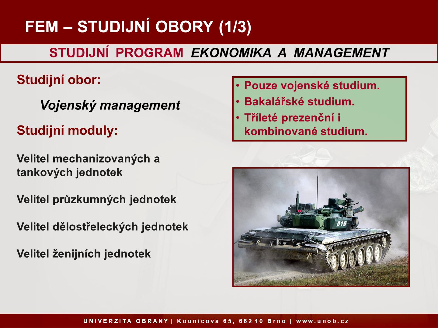 STUDIJNÍ PROGRAM EKONOMIKA A MANAGEMENT