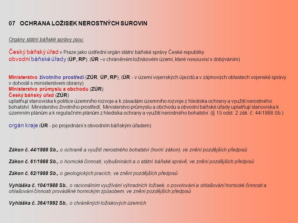 07 OCHRANA LOŽISEK NEROSTNÝCH SUROVIN Orgány státní báňské správy jsou: Český báňský úřad v Praze jako ústřední orgán státní báňské správy České republiky obvodní báňské úřady (ÚP, RP), (ÚR –v chráněném ložiskovém území, které nesouvisí s dobýváním) Ministerstvo životního prostředí (ZÚR, ÚP, RP), (ÚR - v území vojenských újezdů a v zájmových oblastech vojenské správy v dohodě s ministerstvem obrany) Ministerstvo průmyslu a obchodu (ZÚR) Český báňský úřad (ZÚR) uplatňují stanoviska k politice územního rozvoje a k zásadám územního rozvoje z hlediska ochrany a využití nerostného bohatství.