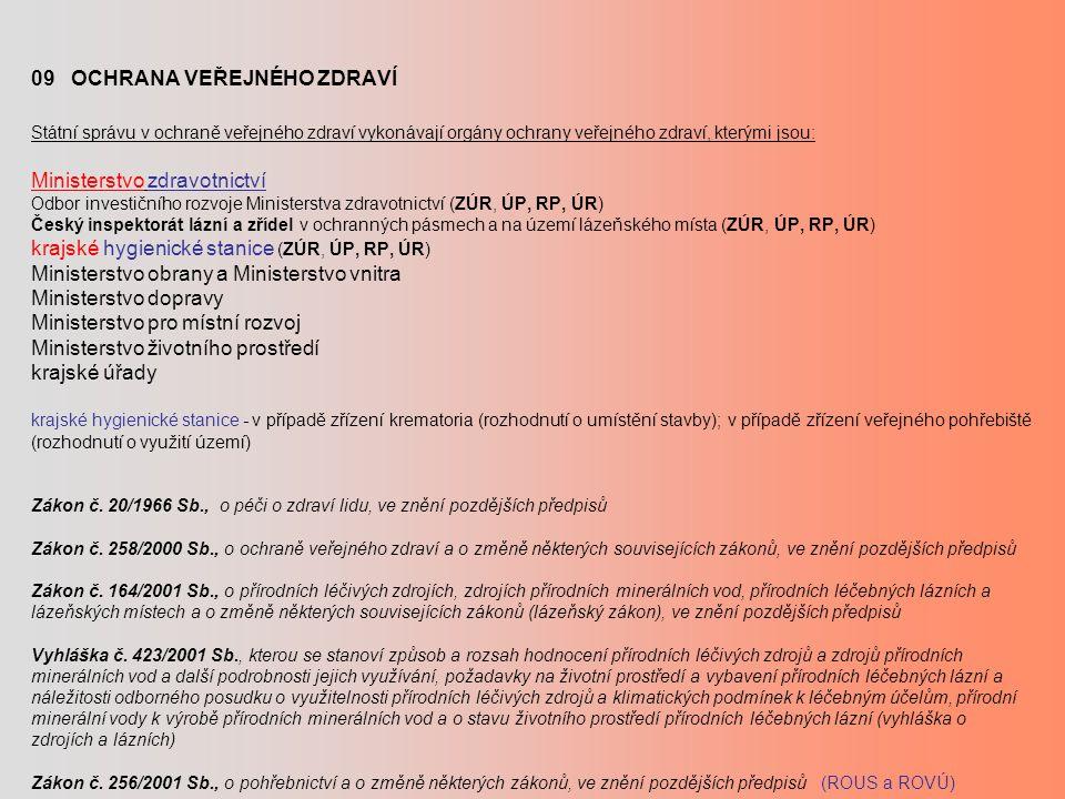 09 OCHRANA VEŘEJNÉHO ZDRAVÍ Státní správu v ochraně veřejného zdraví vykonávají orgány ochrany veřejného zdraví, kterými jsou: Ministerstvo zdravotnictví Odbor investičního rozvoje Ministerstva zdravotnictví (ZÚR, ÚP, RP, ÚR) Český inspektorát lázní a zřídel v ochranných pásmech a na území lázeňského místa (ZÚR, ÚP, RP, ÚR) krajské hygienické stanice (ZÚR, ÚP, RP, ÚR) Ministerstvo obrany a Ministerstvo vnitra Ministerstvo dopravy Ministerstvo pro místní rozvoj Ministerstvo životního prostředí krajské úřady krajské hygienické stanice - v případě zřízení krematoria (rozhodnutí o umístění stavby); v případě zřízení veřejného pohřebiště (rozhodnutí o využití území) Zákon č.