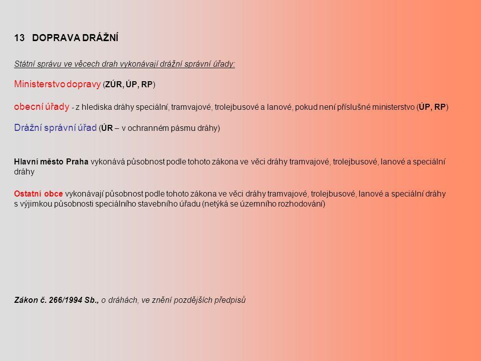 13 DOPRAVA DRÁŽNÍ Státní správu ve věcech drah vykonávají drážní správní úřady: Ministerstvo dopravy (ZÚR, ÚP, RP) obecní úřady - z hlediska dráhy speciální, tramvajové, trolejbusové a lanové, pokud není příslušné ministerstvo (ÚP, RP) Drážní správní úřad (ÚR – v ochranném pásmu dráhy) Hlavní město Praha vykonává působnost podle tohoto zákona ve věci dráhy tramvajové, trolejbusové, lanové a speciální dráhy Ostatní obce vykonávají působnost podle tohoto zákona ve věci dráhy tramvajové, trolejbusové, lanové a speciální dráhy s výjimkou působnosti speciálního stavebního úřadu (netýká se územního rozhodování) Zákon č.