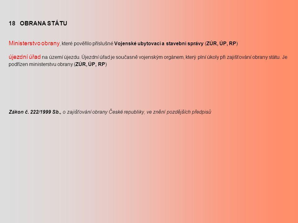 18 OBRANA STÁTU Ministerstvo obrany, které pověřilo příslušné Vojenské ubytovací a stavební správy (ZÚR, ÚP, RP) újezdní úřad na území újezdu.