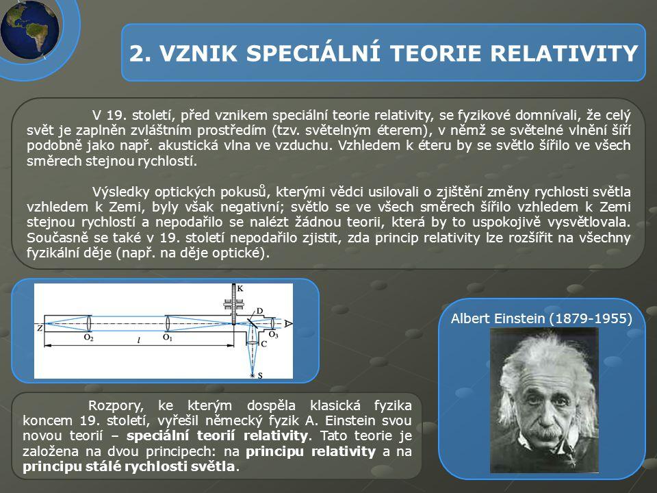 2. VZNIK SPECIÁLNÍ TEORIE RELATIVITY