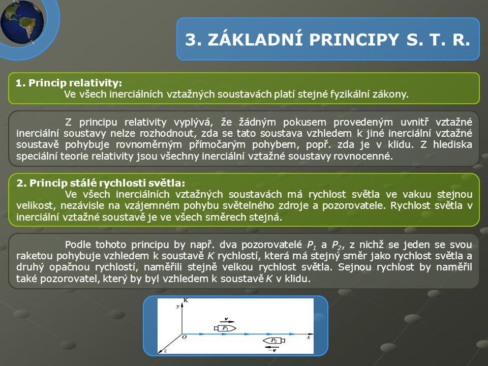 3. ZÁKLADNÍ PRINCIPY S. T. R. 1. Princip relativity:
