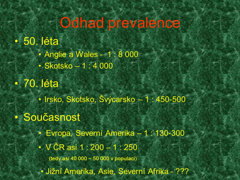 Odhad prevalence 50. léta 70. léta Současnost