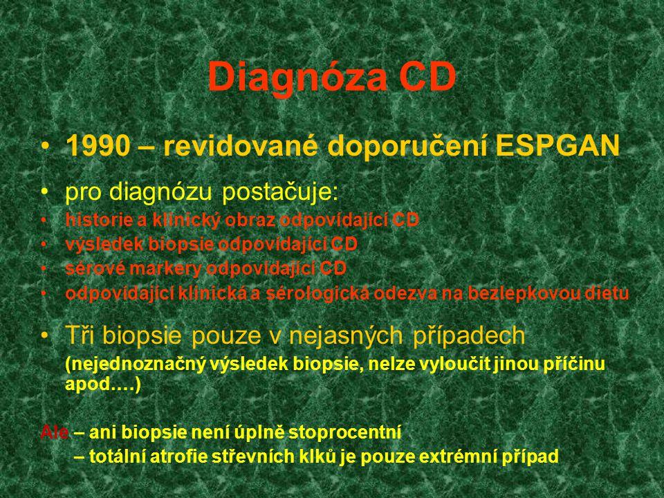 Diagnóza CD 1990 – revidované doporučení ESPGAN