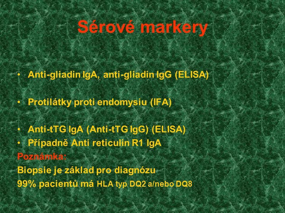 Sérové markery Anti-gliadin IgA, anti-gliadin IgG (ELISA)
