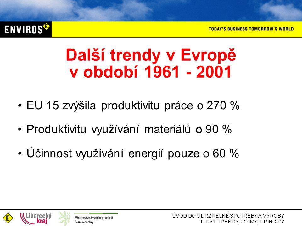 Další trendy v Evropě v období 1961 - 2001
