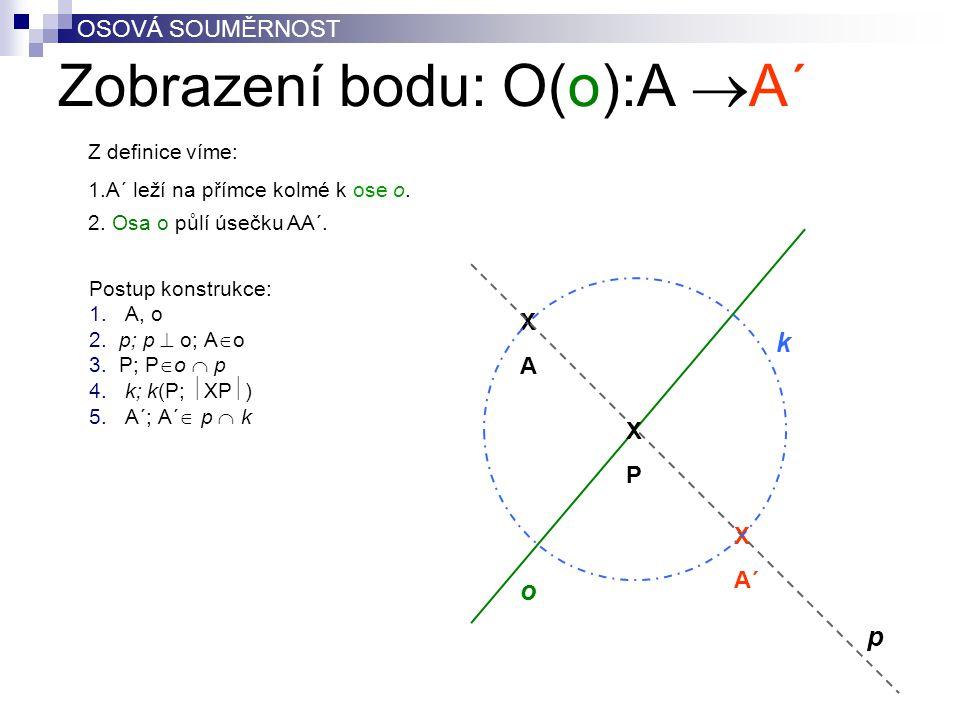 Zobrazení bodu: O(o):A A´