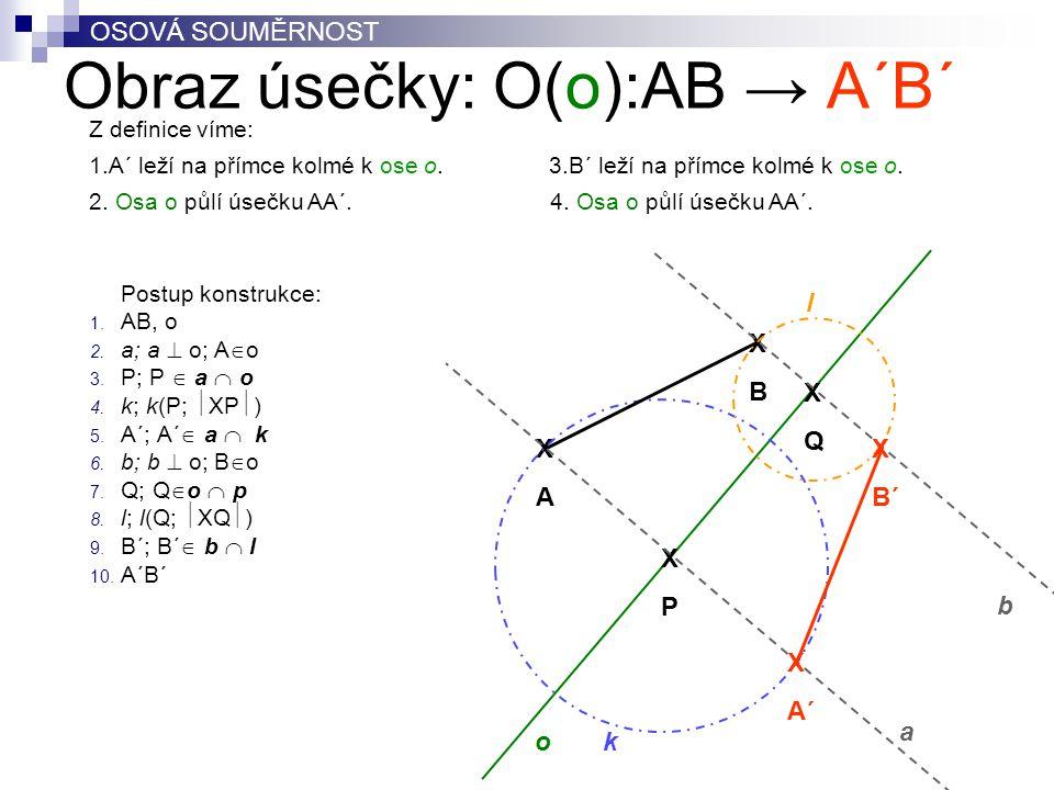 Obraz úsečky: O(o):AB → A´B´