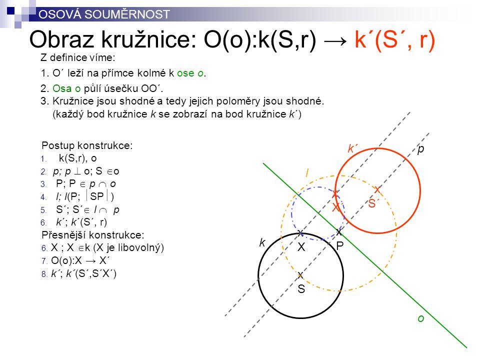 Obraz kružnice: O(o):k(S,r) → k´(S´, r)