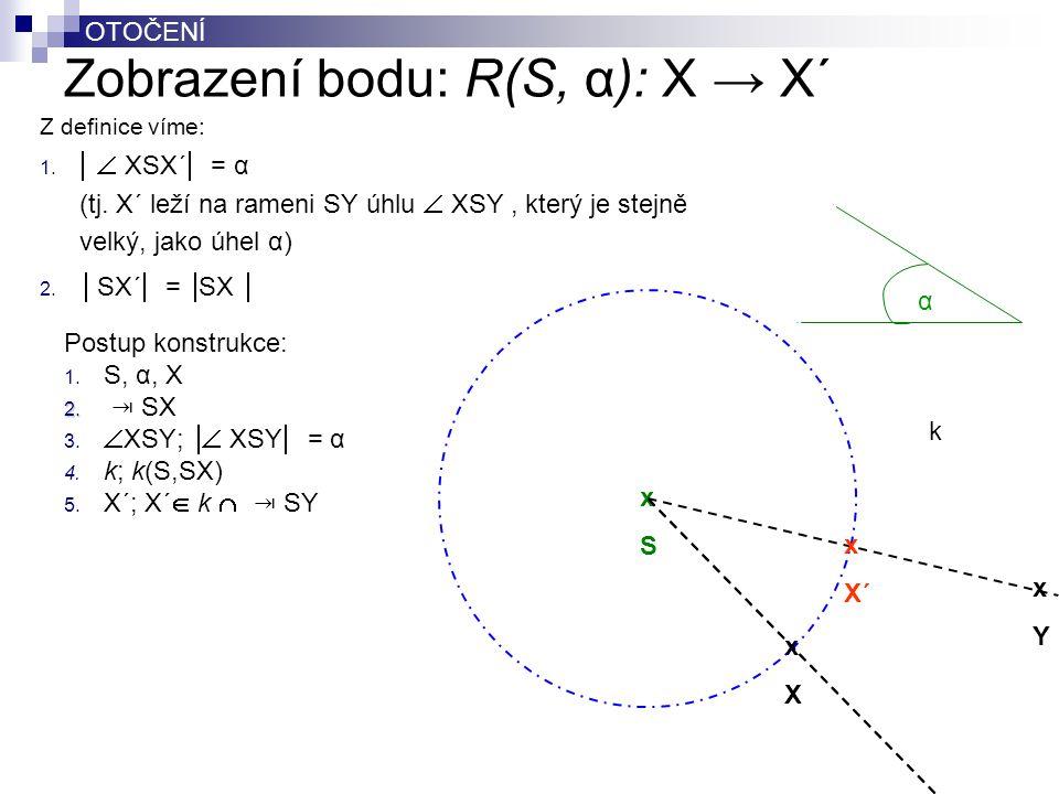 Zobrazení bodu: R(S, α): X → X´