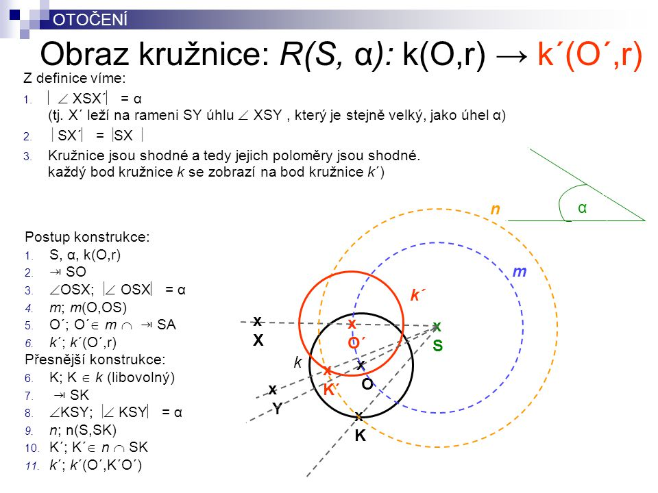Obraz kružnice: R(S, α): k(O,r) → k´(O´,r)