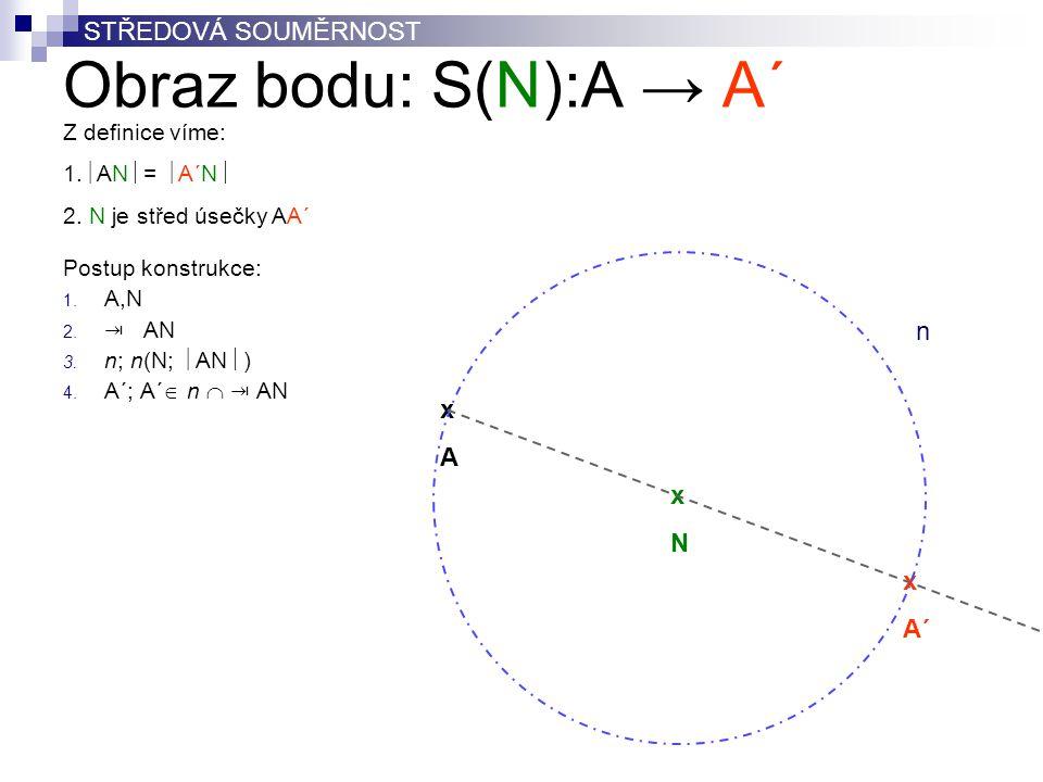 Obraz bodu: S(N):A → A´ STŘEDOVÁ SOUMĚRNOST n x A x N x A´