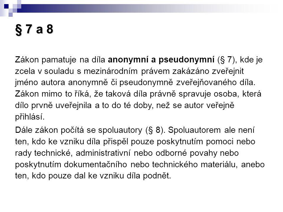 § 7 a 8