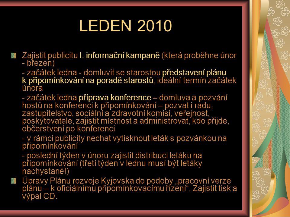 LEDEN 2010 Zajistit publicitu I. informační kampaně (která proběhne únor - březen)