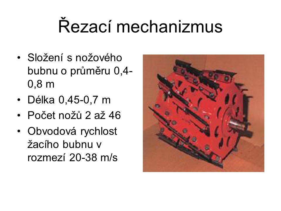 Řezací mechanizmus Složení s nožového bubnu o průměru 0,4-0,8 m