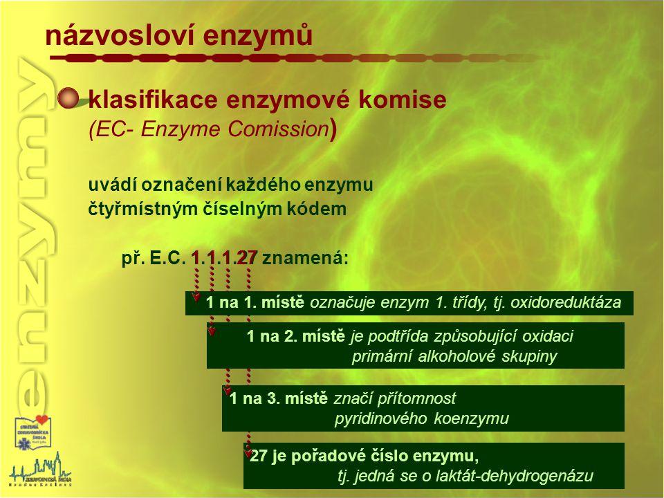 názvosloví enzymů klasifikace enzymové komise (EC- Enzyme Comission)