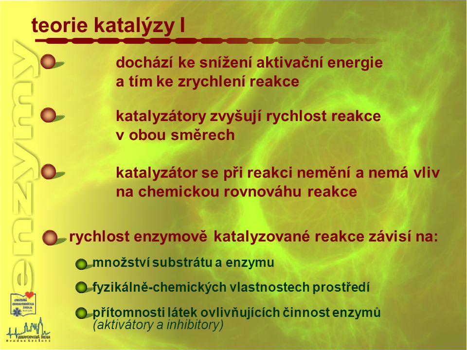 teorie katalýzy I dochází ke snížení aktivační energie