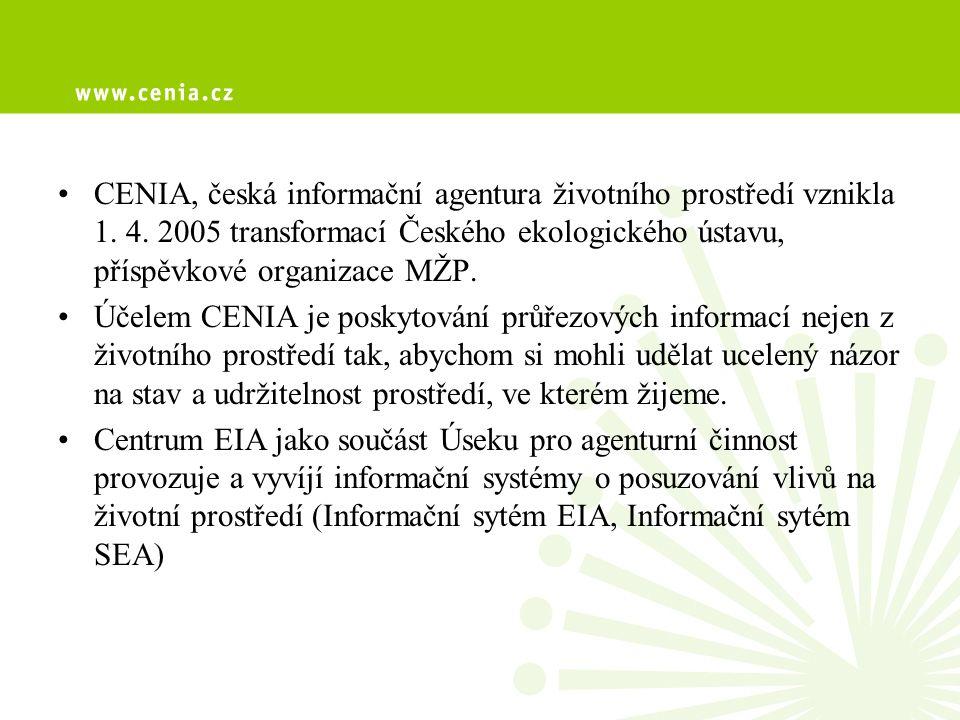 CENIA, česká informační agentura životního prostředí vznikla 1. 4