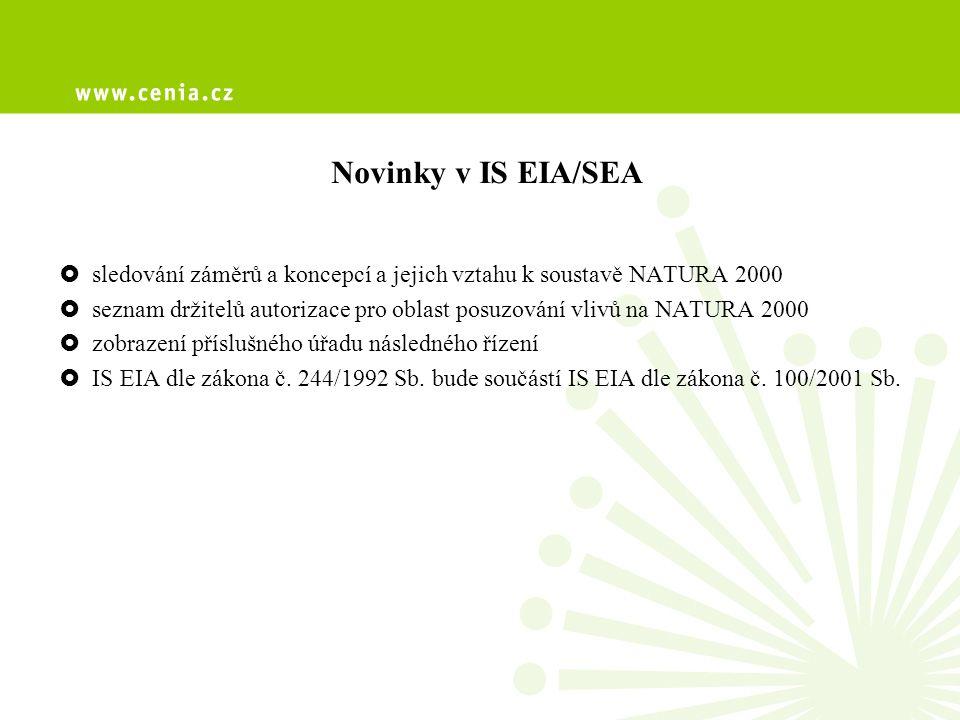 Novinky v IS EIA/SEA  sledování záměrů a koncepcí a jejich vztahu k soustavě NATURA 2000.