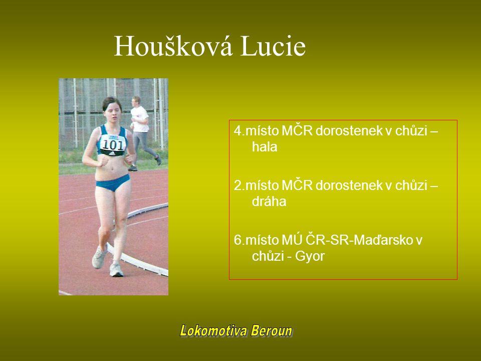 Houšková Lucie Lokomotiva Beroun 4.místo MČR dorostenek v chůzi – hala