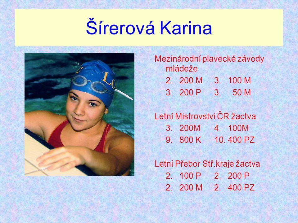Šírerová Karina Mezinárodní plavecké závody mládeže 2. 200 M 3. 100 M