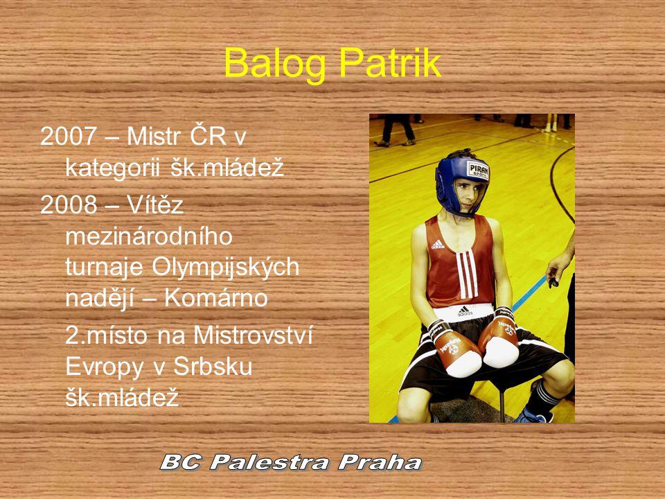 Balog Patrik BC Palestra Praha 2007 – Mistr ČR v kategorii šk.mládež