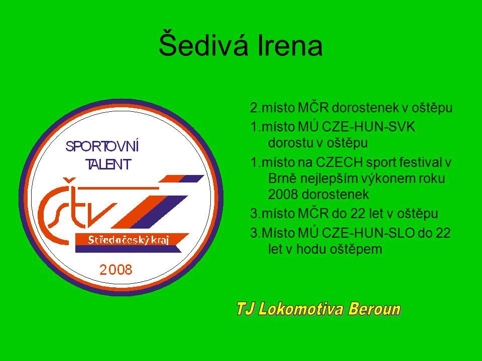 Šedivá Irena TJ Lokomotiva Beroun 2.místo MČR dorostenek v oštěpu