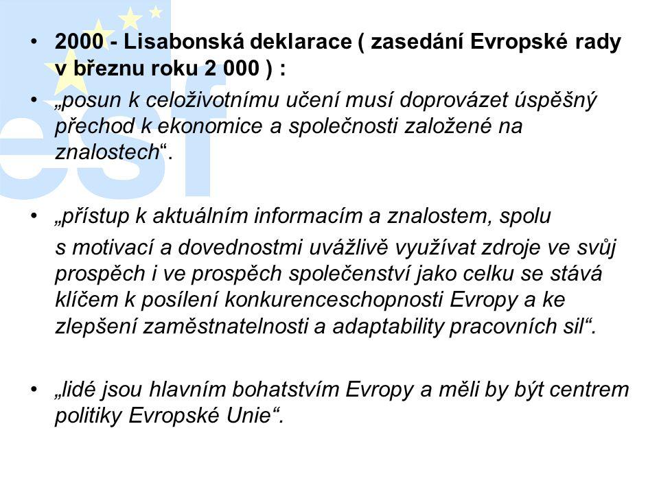 2000 - Lisabonská deklarace ( zasedání Evropské rady v březnu roku 2 000 ) :