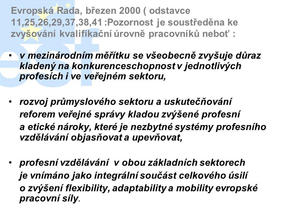 Evropská Rada, březen 2000 ( odstavce 11,25,26,29,37,38,41 :Pozornost je soustředěna ke zvyšování kvalifikační úrovně pracovníků neboť :