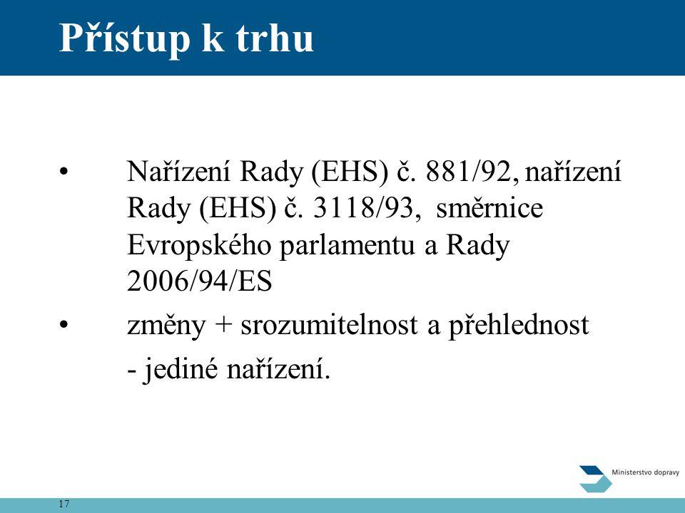 Přístup k trhu Nařízení Rady (EHS) č. 881/92, nařízení Rady (EHS) č. 3118/93, směrnice Evropského parlamentu a Rady 2006/94/ES.