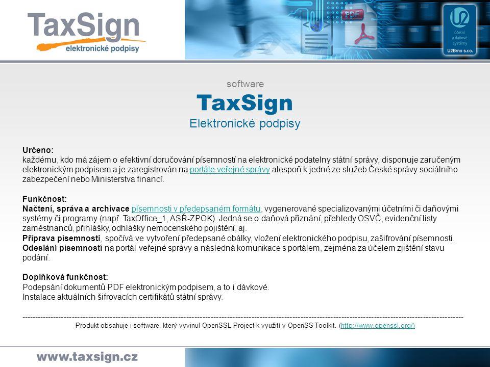 TaxSign Elektronické podpisy software
