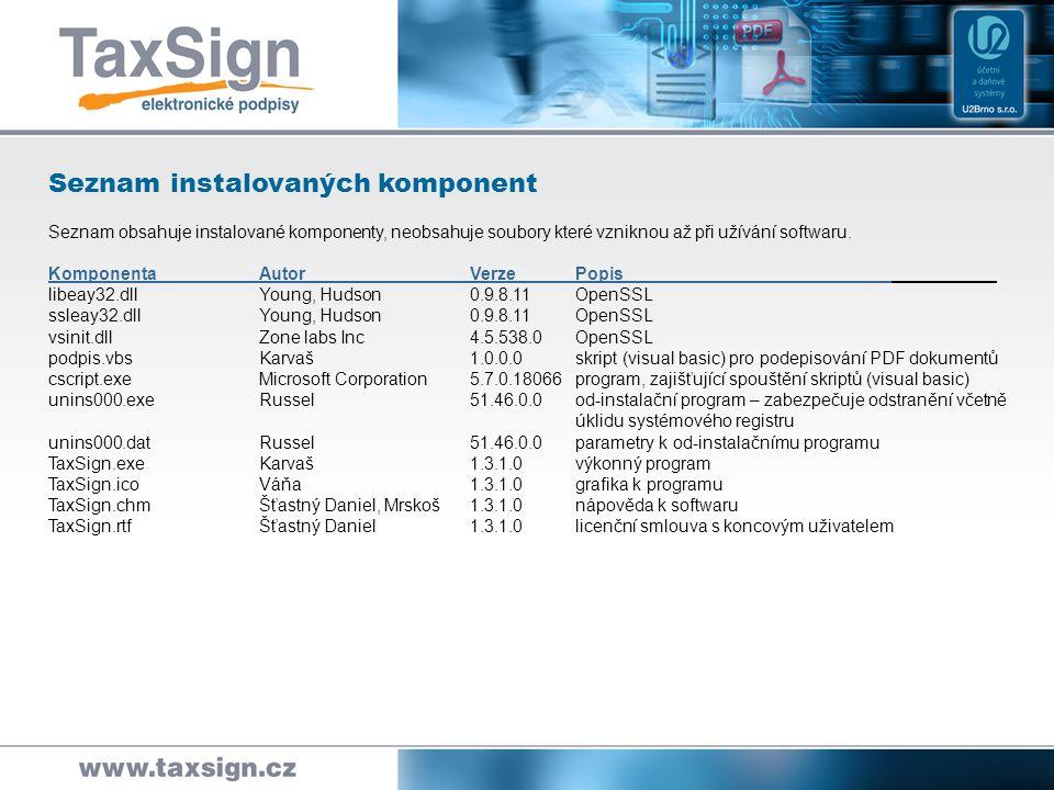 Seznam instalovaných komponent