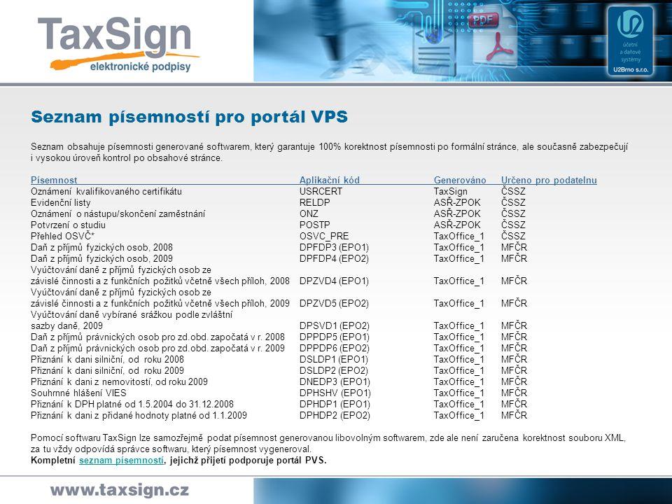 Seznam písemností pro portál VPS