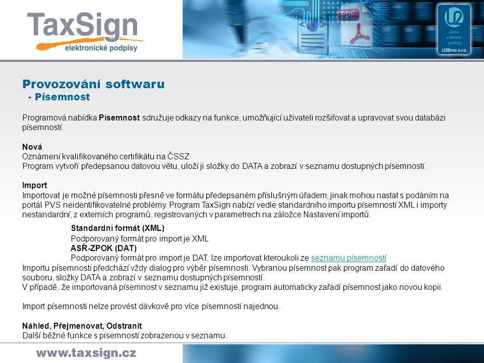 Standardní formát (XML)