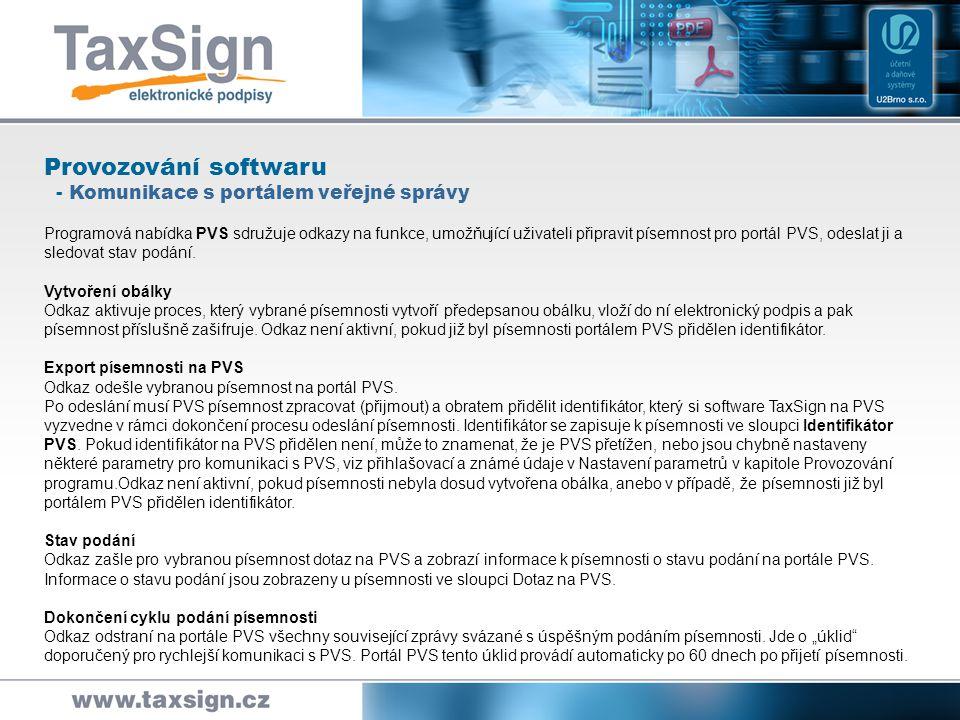 Provozování softwaru - Komunikace s portálem veřejné správy