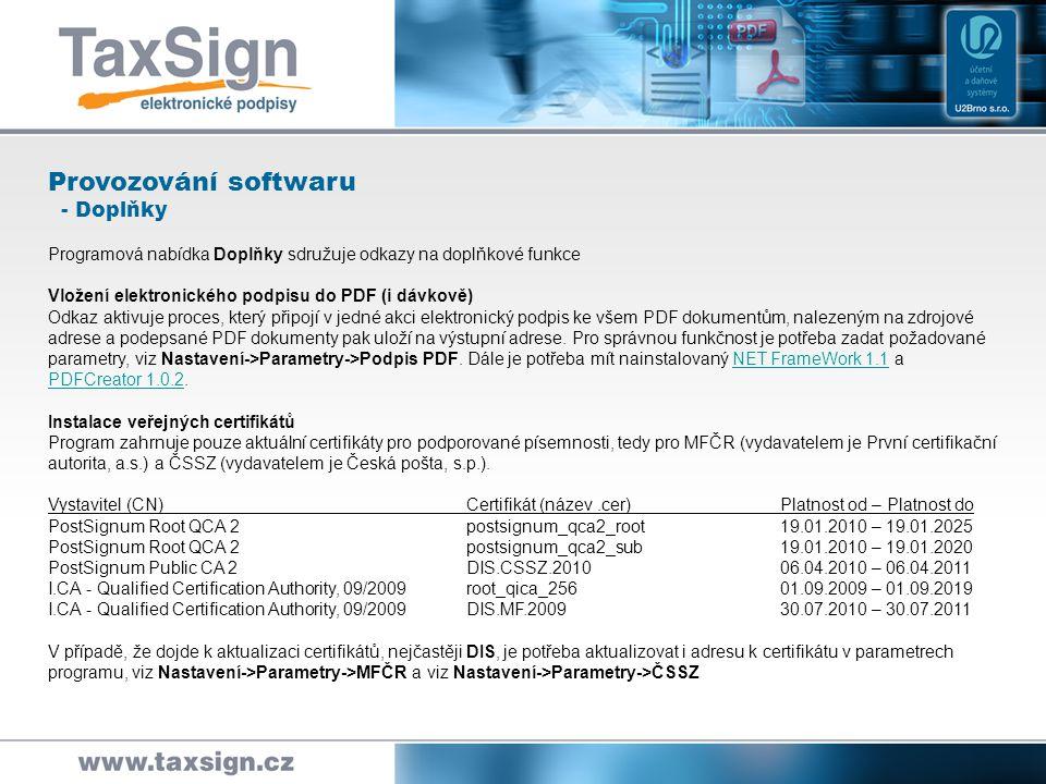 Provozování softwaru - Doplňky