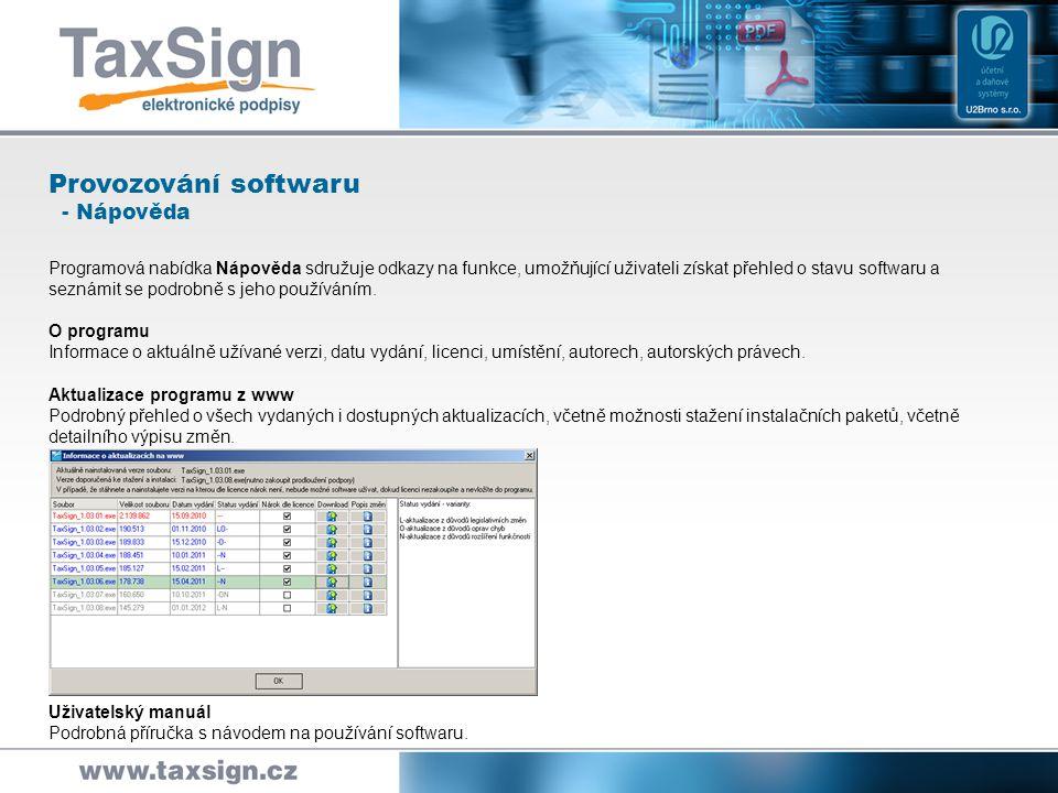Provozování softwaru - Nápověda