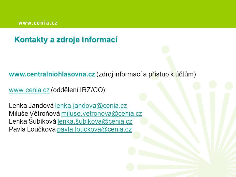 Kontakty a zdroje informací