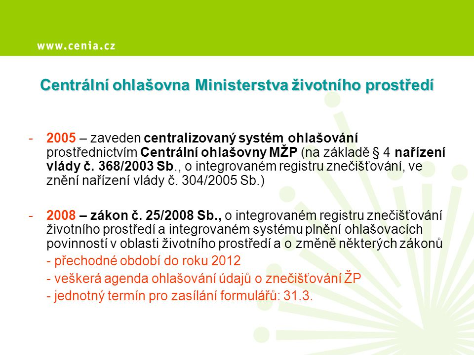 Centrální ohlašovna Ministerstva životního prostředí