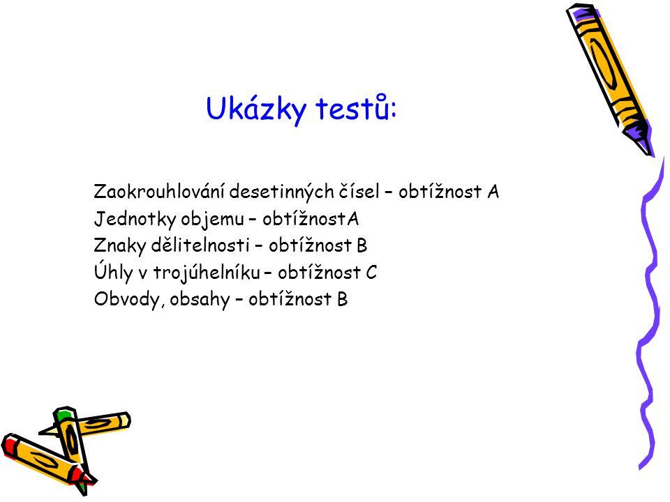 Ukázky testů: Zaokrouhlování desetinných čísel – obtížnost A