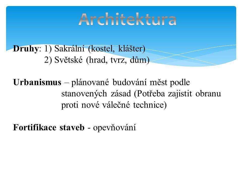 Architektura Druhy: 1) Sakrální (kostel, klášter)